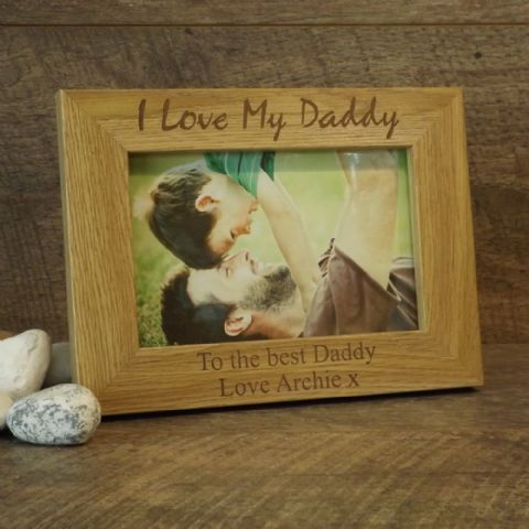 Personalised Wooden Photo Frame I Love My Daddy Dad Fathers Day Gift